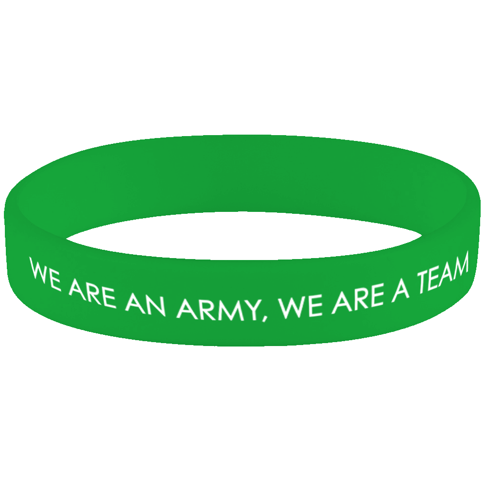 'We Are An Army, We Are A Team' Wristband (Green)