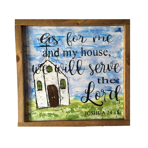 Rustic Church painting, western church sign, serve the Lord wood painting, framed, pallet knife painting