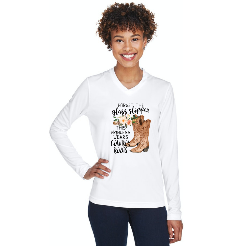Forget glass slippers this princess wears cowboy boots team 365 white long sleeve ladies tshirt