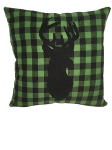 Green Plaid Deer Flannel Pillow Cover