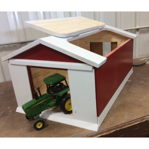 Wooden Toy Red Machine Shed