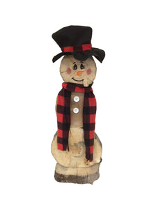 Rustic Christmas Log Slice Snowman