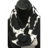 Black and White Damask Flannel Infinity Scarf