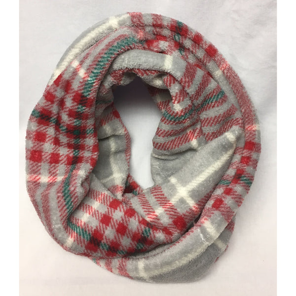 Red and Grey Plaid Fleece Infinity Scarf