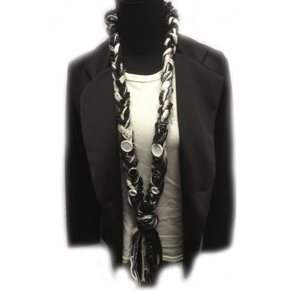 Black and White Yarn Scarf with button accents