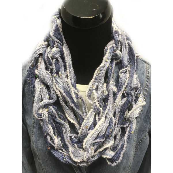Blue Varigated Arm Knit Scarf