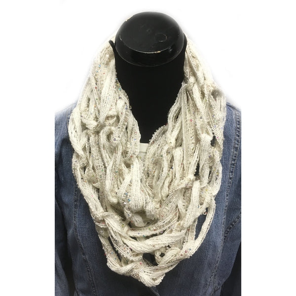 Arm Hand knitted Infinity Scarf in ivory
