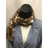 Brown Yarn Scarf with button accents