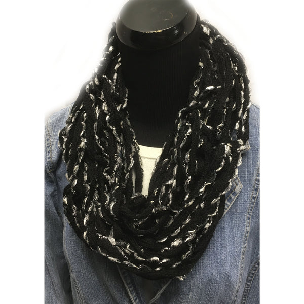 Black with Silver yarn accents Arm Hand knitted Infinity Scarf
