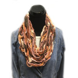 Varigated rust and brown Arm knit infinity yarn scarf