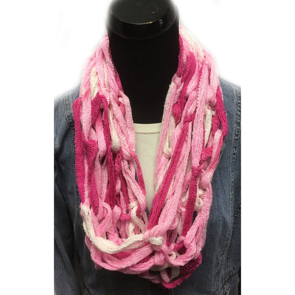 Varigated Pink Arm Knit Infinity Yarn Scarf