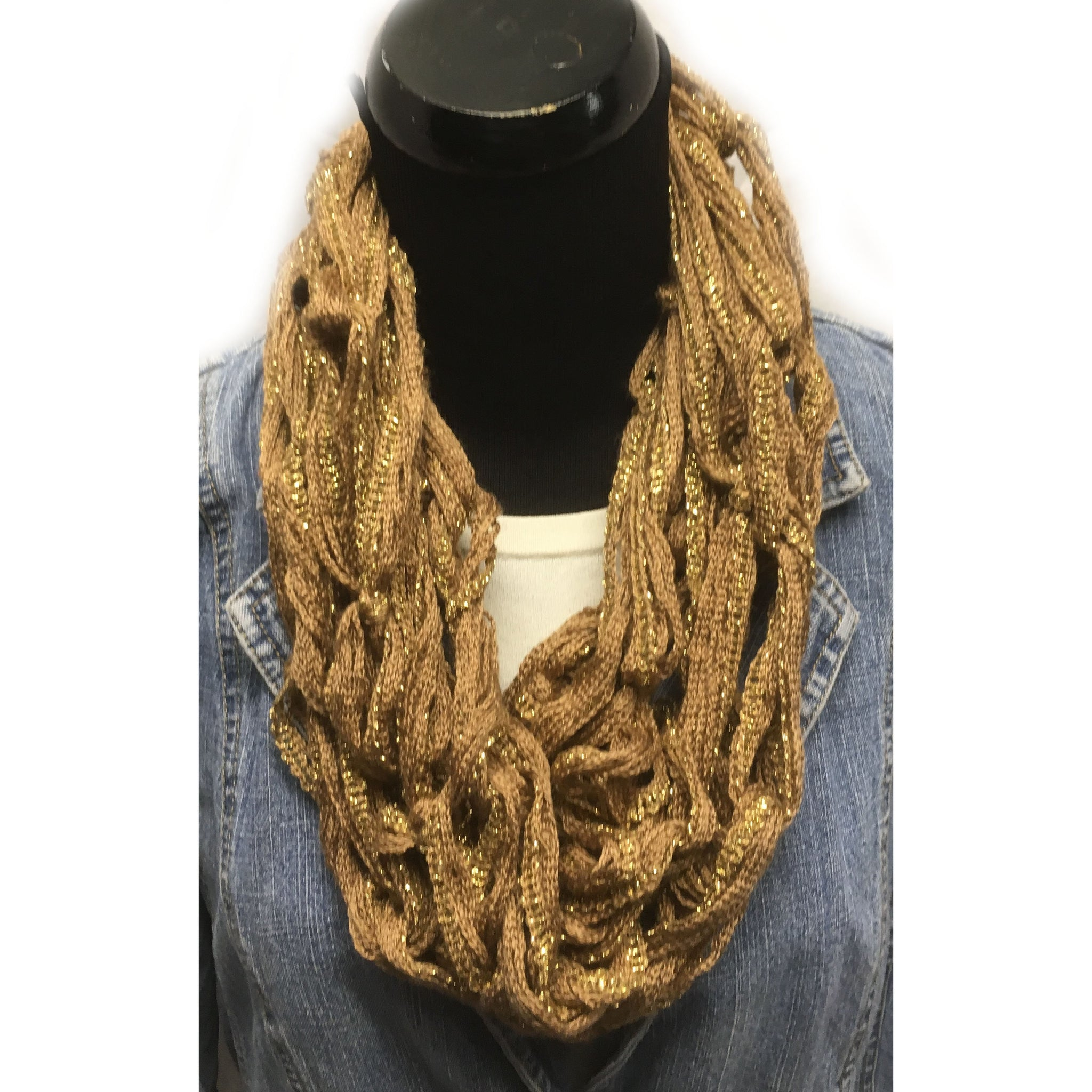 Gold with metallic arm knit infinity yarn scarf