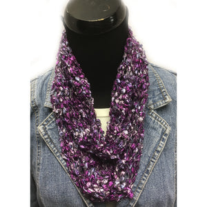 Purple and Silver Ladder Infinity Yarn Scarf
