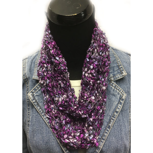 Purple and silver ladder infinity scarf
