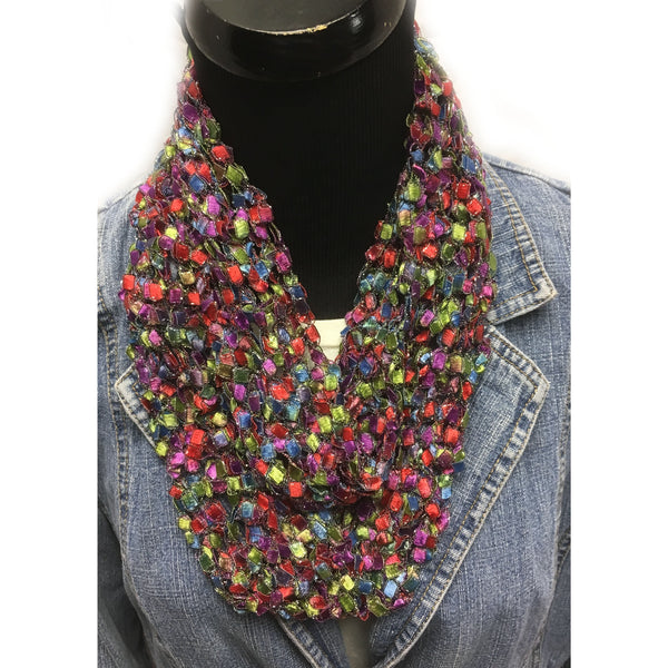 Mulitcolored crocheted infinity yarn scarf