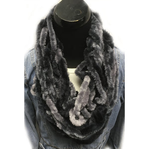 Black and Grey Fur type yarn infinity arm knit scarf