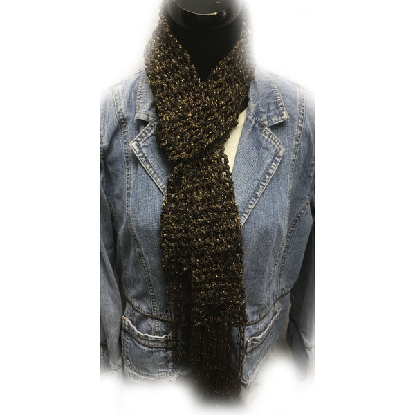 Crocheted fringe scarf in gold and black yarns