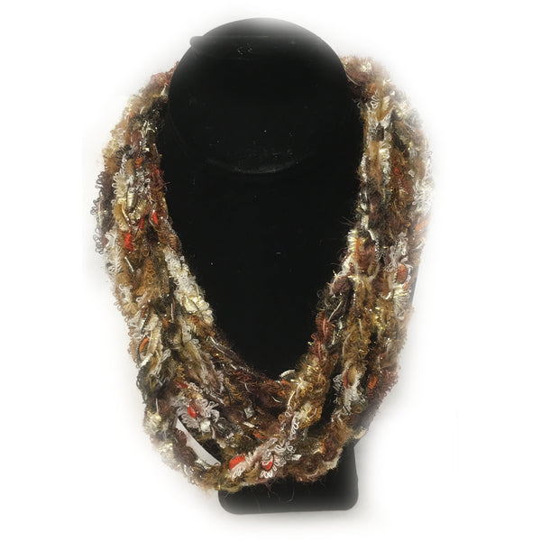 Varigated Browns Braided Infinity yarn necklace