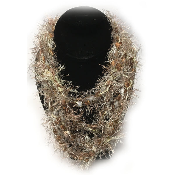Tan and brown fringe infinity yarn necklace