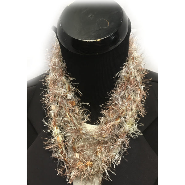 Fringe Infinity Yarn Necklace in tans, golds and browns