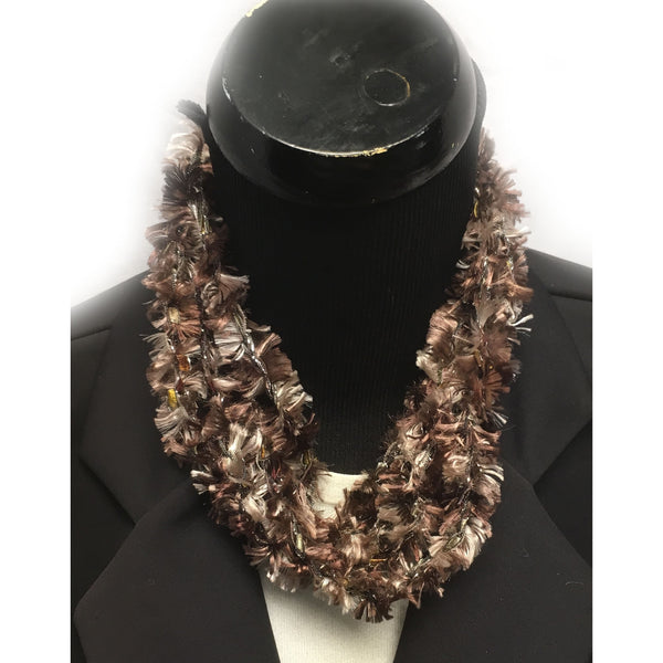 Brown Infinity Yarn Fringe Necklace