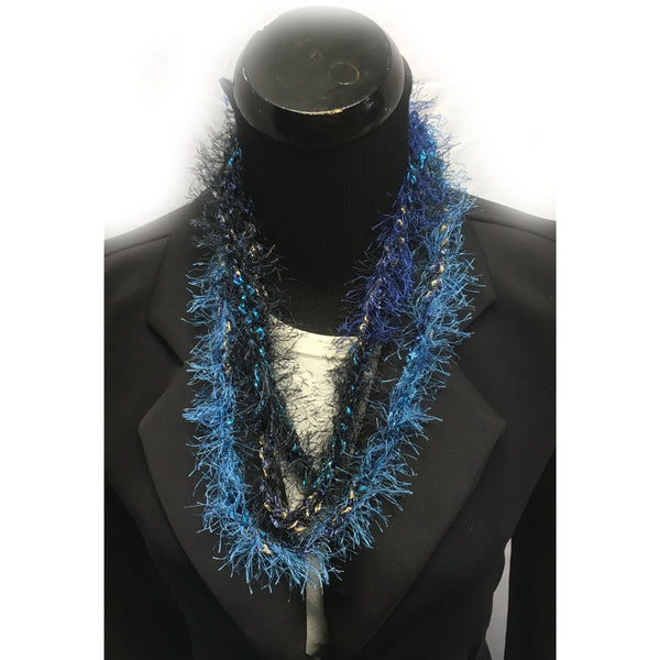 Blue and Black Fringe Infinity Yarn Necklace