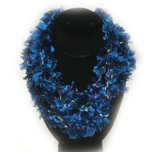 Blue Fringe yarn infinity necklace
