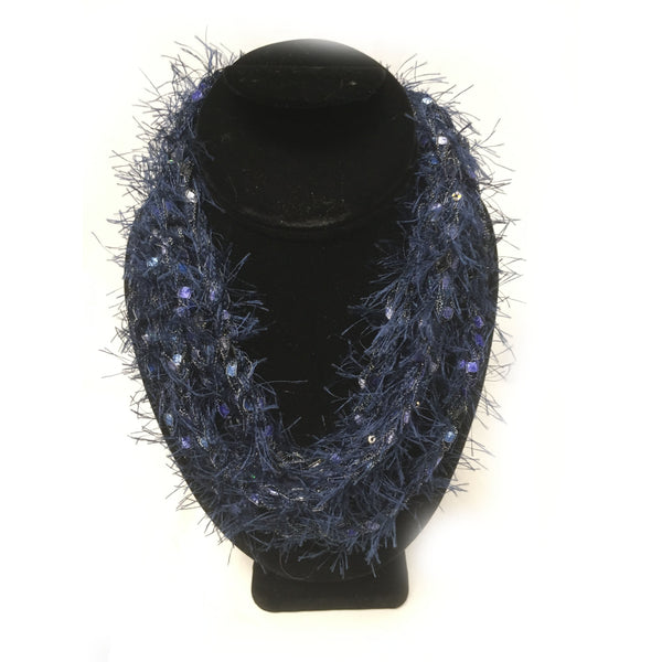 Blue fringe infinity yarn necklace
