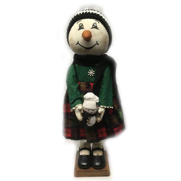 Standing snowgirl with sock snowman doll