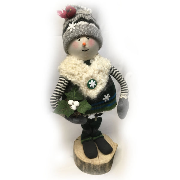 Winter Snowman with birds nest