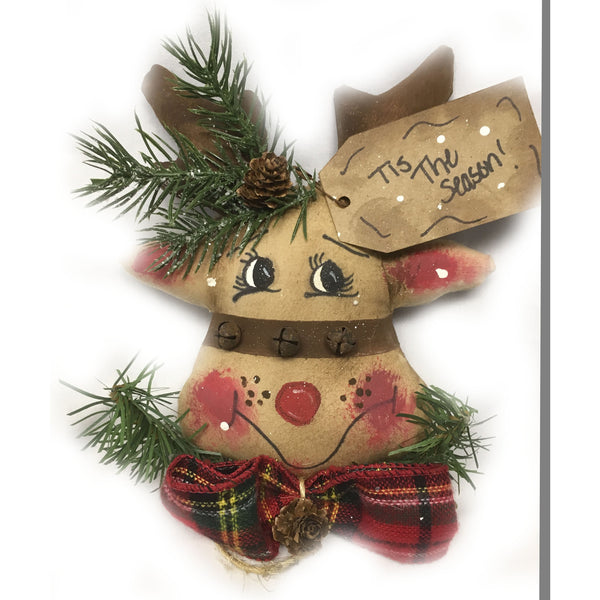 Reindeer Christmas tree ornament, handcrafted from fabric