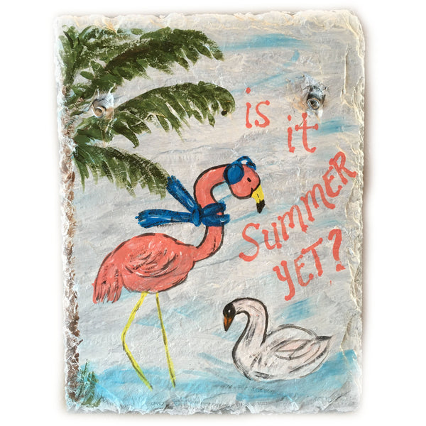 Is it Summer Yet? Flamingo Painting on Slate Tile 9 x 12 inches