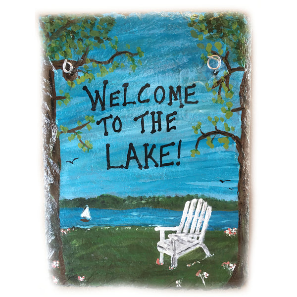 Welcome to the Lake Acrylic painting on slate tile