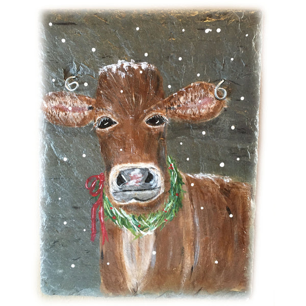 Rustic Farmhouse Holiday Jersey Cow Painted on Slate 9 x 12 inches