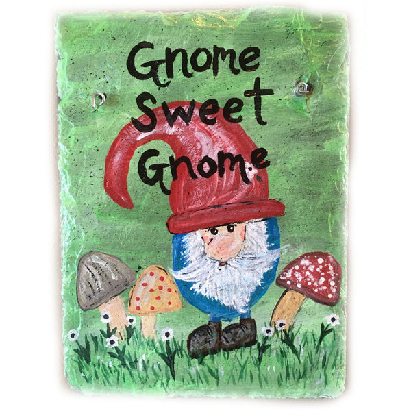 Gnome Sweet Gnome Slate Painting 9 x 12 inches