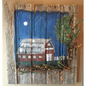 Rustic Red Barn Acrylic Painting on barn wood