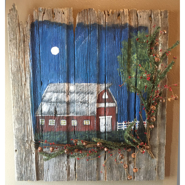 Barn Wood Red Barn Painting with rustic accents 25 x 28 inches