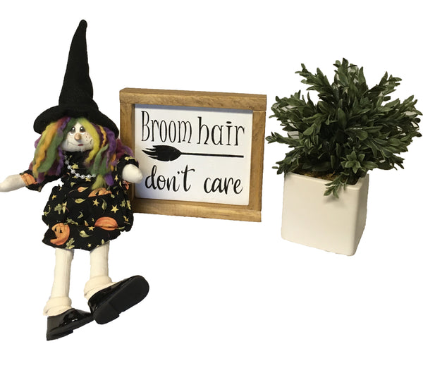 Witches Broom Hair Rustic Farmhouse Bathroom Sign, Halloween Decor