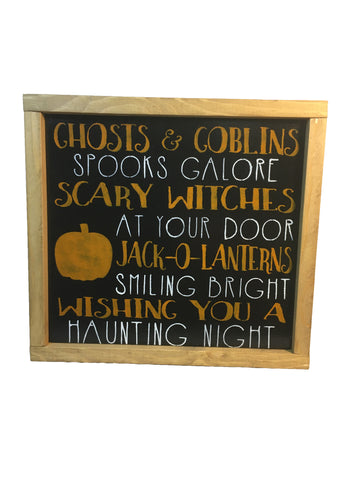 Rustic Halloween sign - Ghosts & Goblins - Subway Art - Halloween
