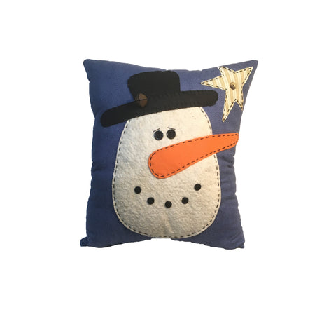 Appliqued Snowman Pillow w/ Rustic Bell Accent - Christmas - Holiday Decor