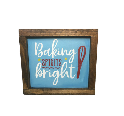Rustic Baking Spirits Bright Kitchen Sign - Everyday Sign Decor - Christmas Signs
