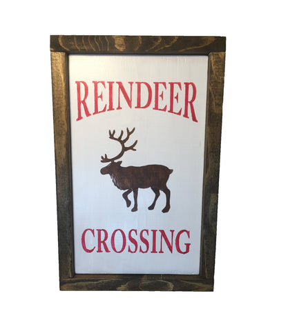 Rustic Farmhouse Reindeer Crossing framed sign - Northwood decor - Christmas decor