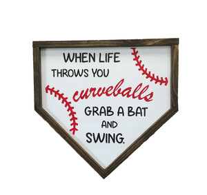 When life throws you curveballs...grab a bat and swing! Baseball enthusiasts!