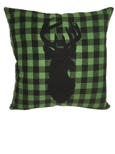 Green/Black checkered deer pillow - Northwoods Decor