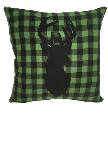 Green Buffalo Plaid Flannel Deer Throw Pillow Cover