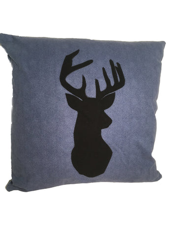 Blue Flannel Deer Pillow - Northwoods Decor