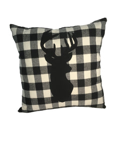 White/Black Checkered deer pillow - Northwoods Decor