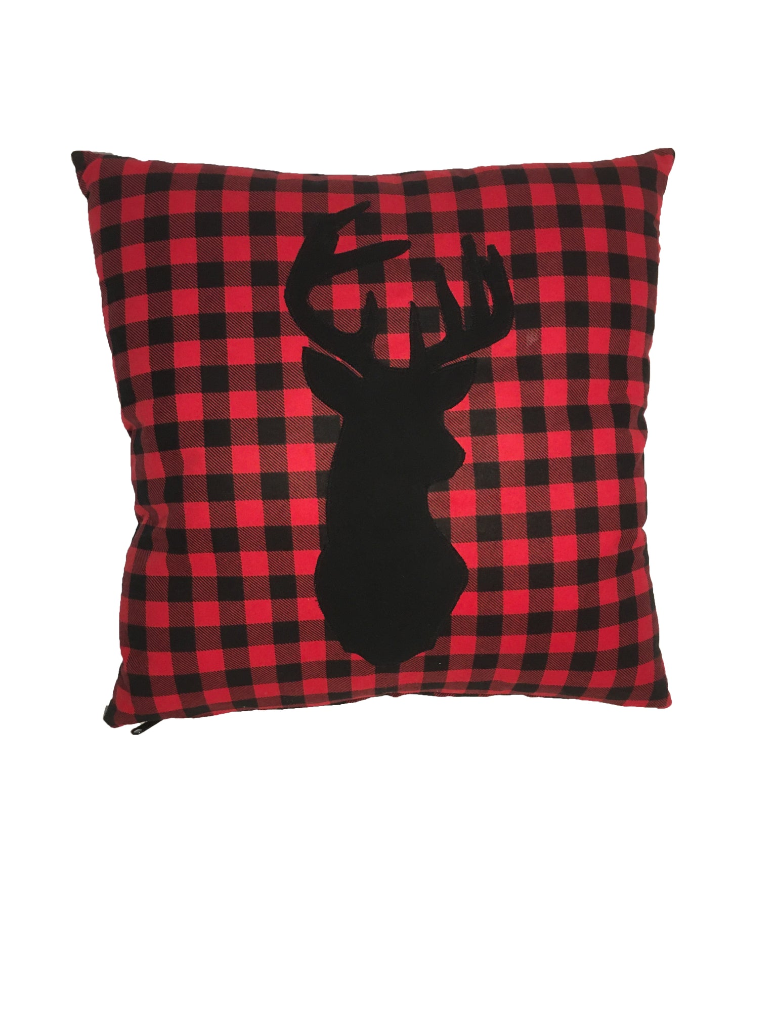 Red/Black checkered deer pillow - Northwoods Decor