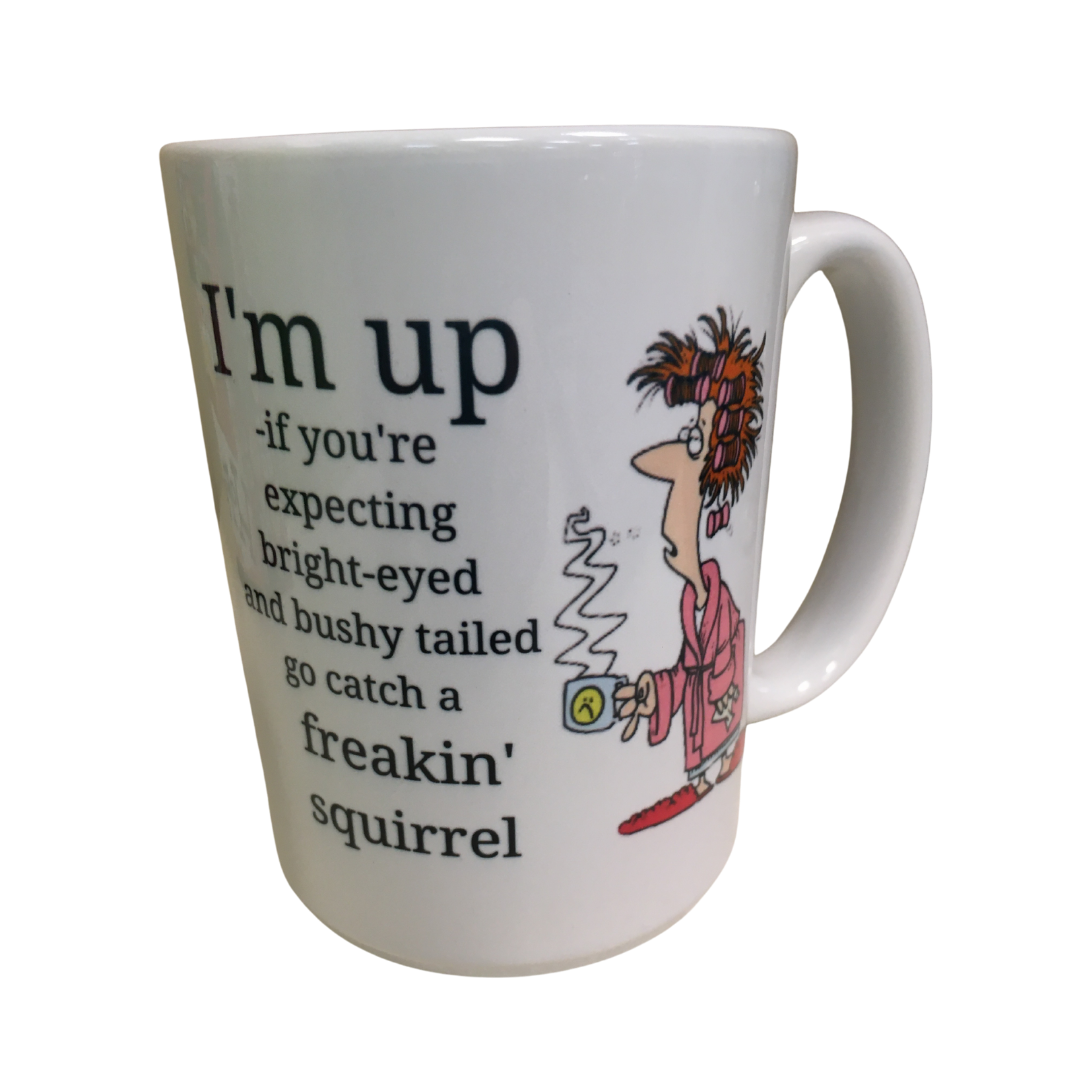 Not a morning person coffee mug, squirrel cup, grumpy lady
