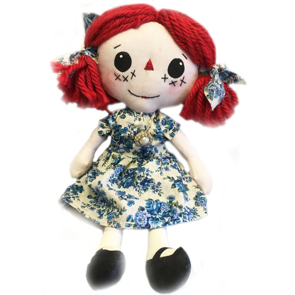 Red Headed Rag Doll with Blue Floral Print dress